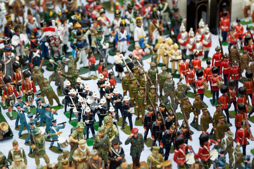 High Angle View Of Toy Soldiers On Table For Sale