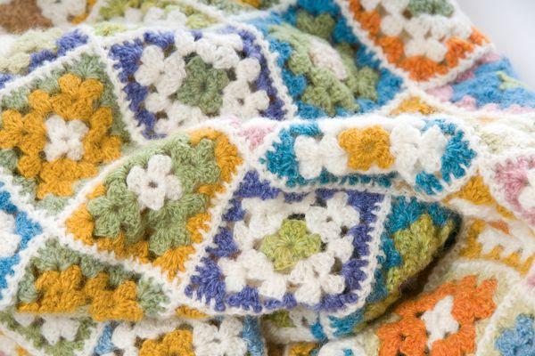 Multi colored blanket in wool