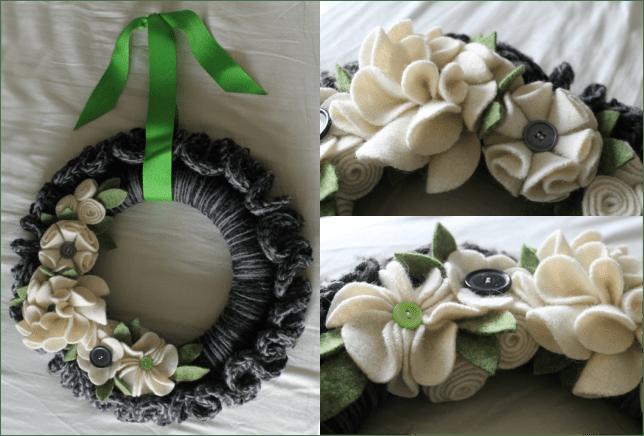 Add felt flowers to a spring crochet wreath