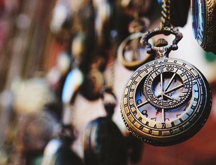 Close-up of an antique pocket watch