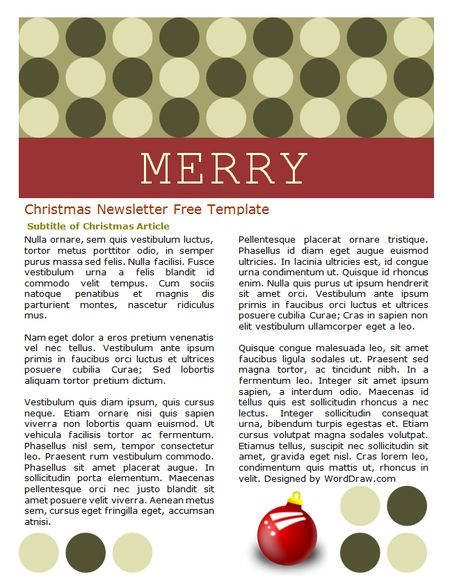 a red and green christmas newsletter