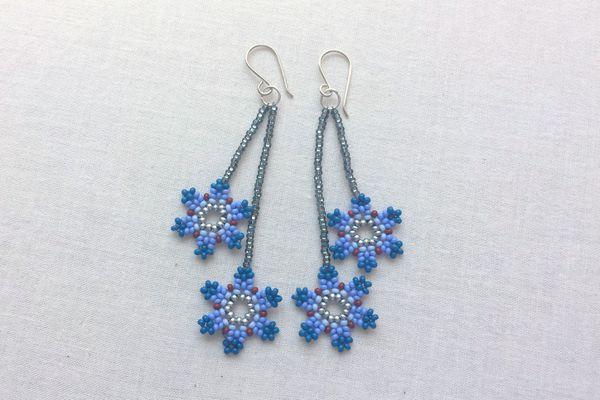 Dangle flower bead earrings