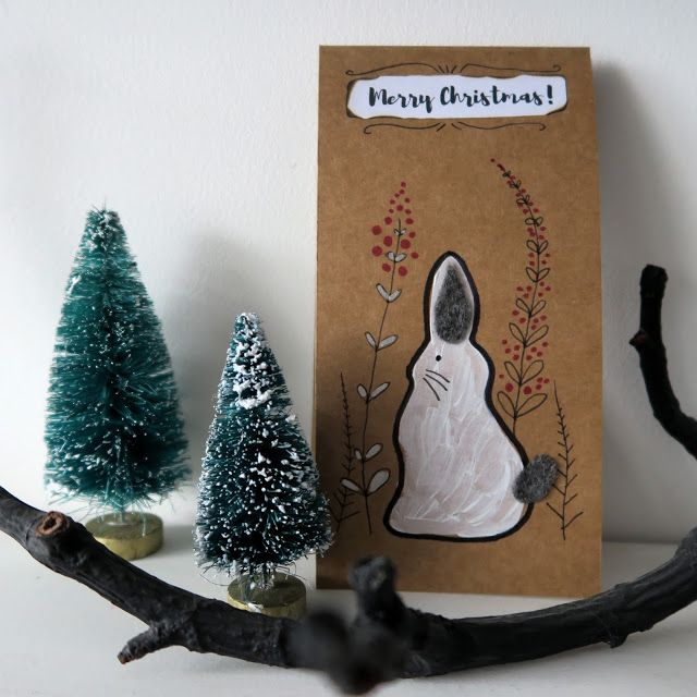 woodland bunny Christmas card