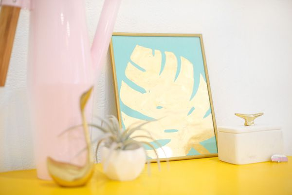 Gold tropical leaf print wall art