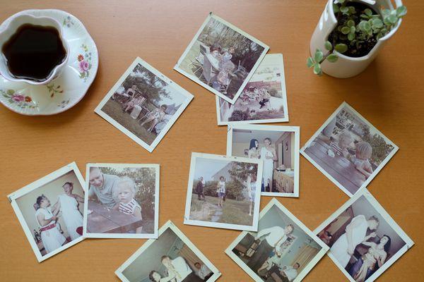 vintage polaroid photos on a table