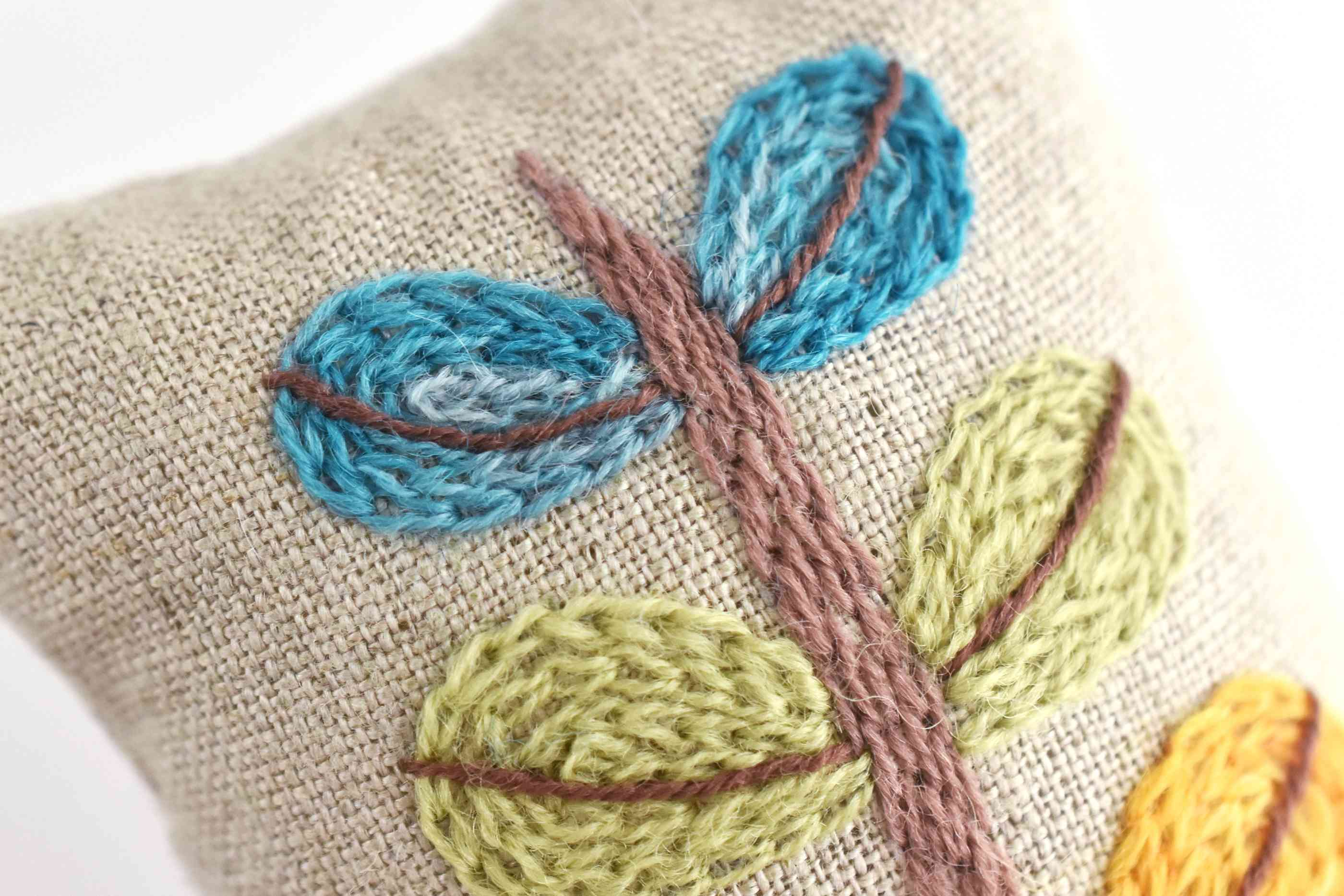 Close-Up of Crewel Embroidery Stitches