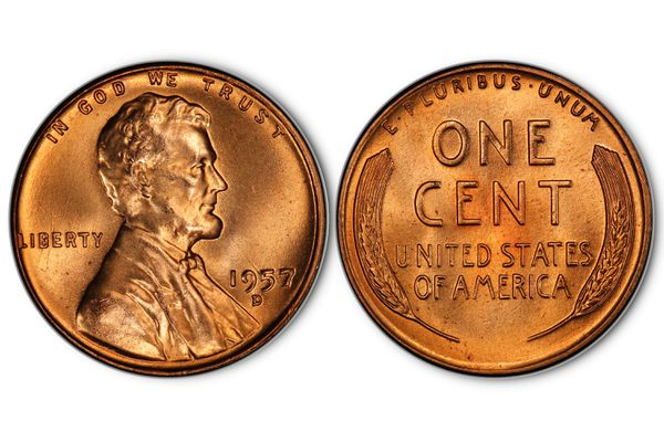 1957-D Lincoln Penny in uncirculated condition