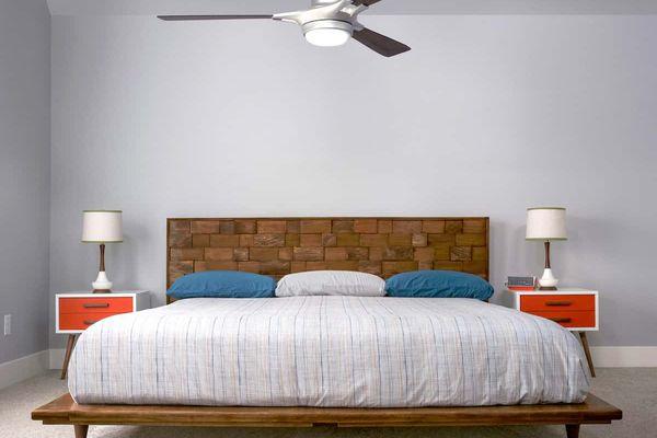 A large modern platform bed