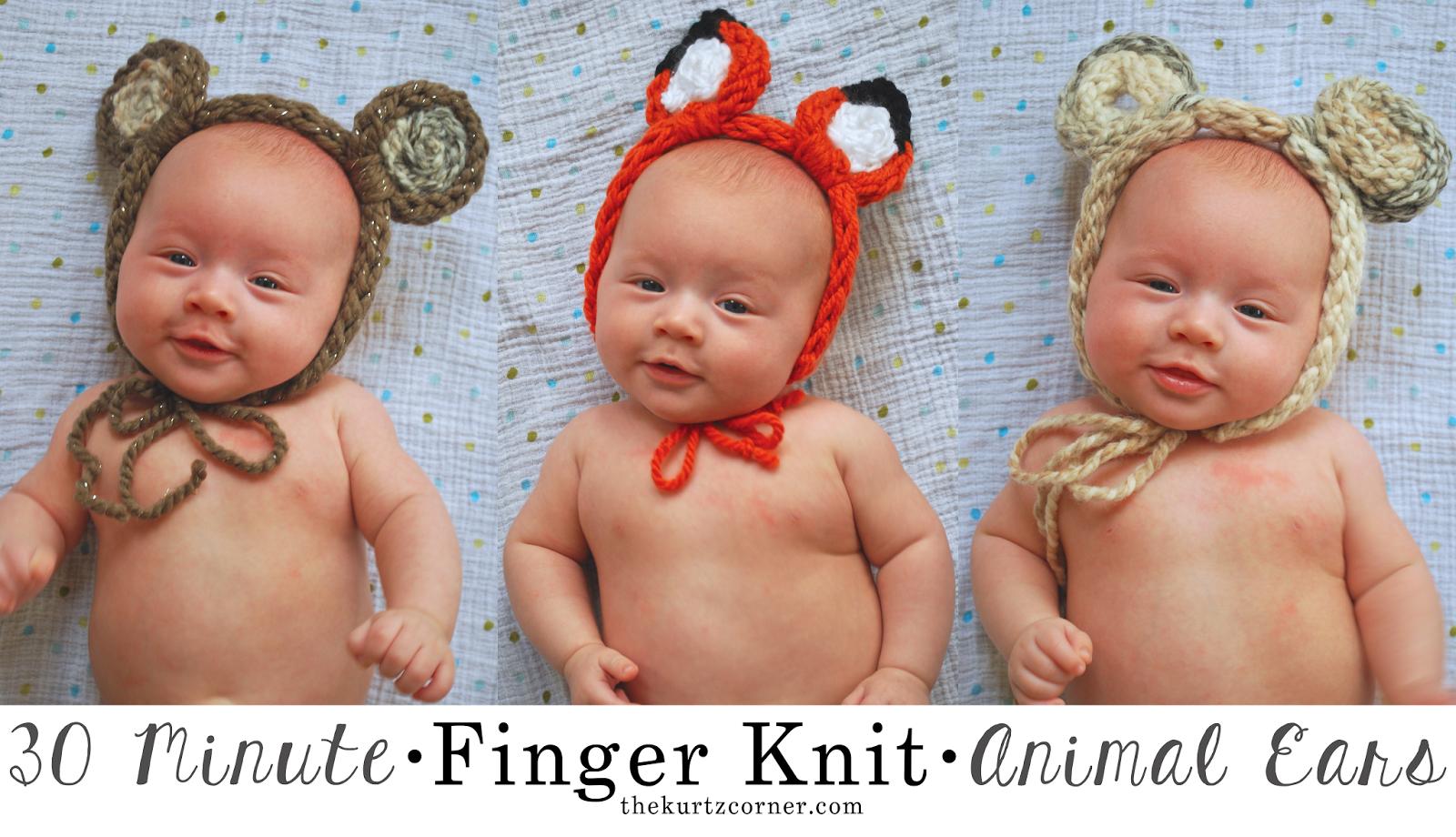 Finger Knit Animal Ears