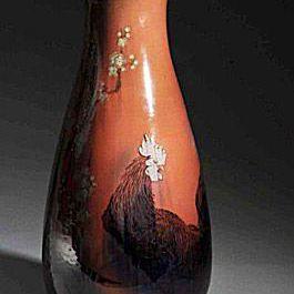 Rookwood Rooster Floor Vase