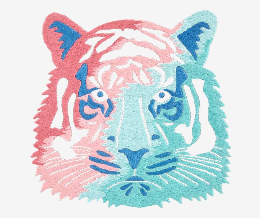 Tiger face hand embroidery pattern