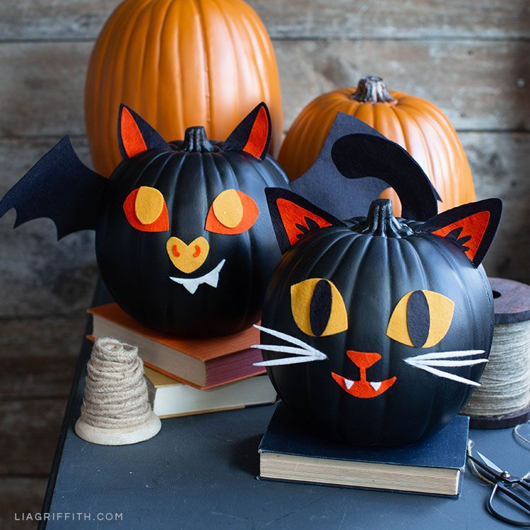 happy cat and bat pumpkin