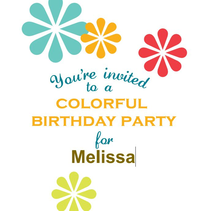 A colorful birthday invitation template being customized