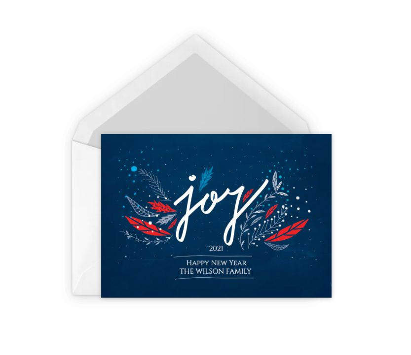 A blue and red new years greeting card
