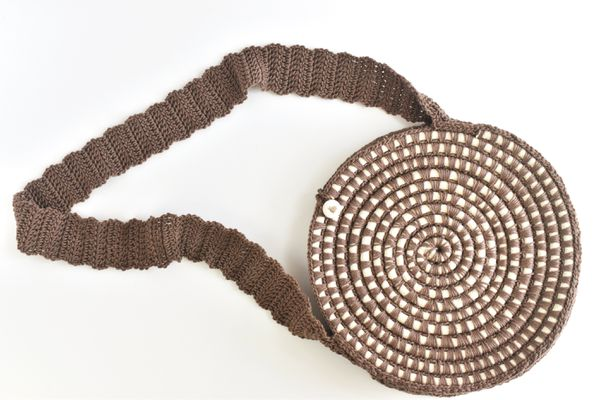 Coiled Rope Crocheted Crossbody Circle Purse