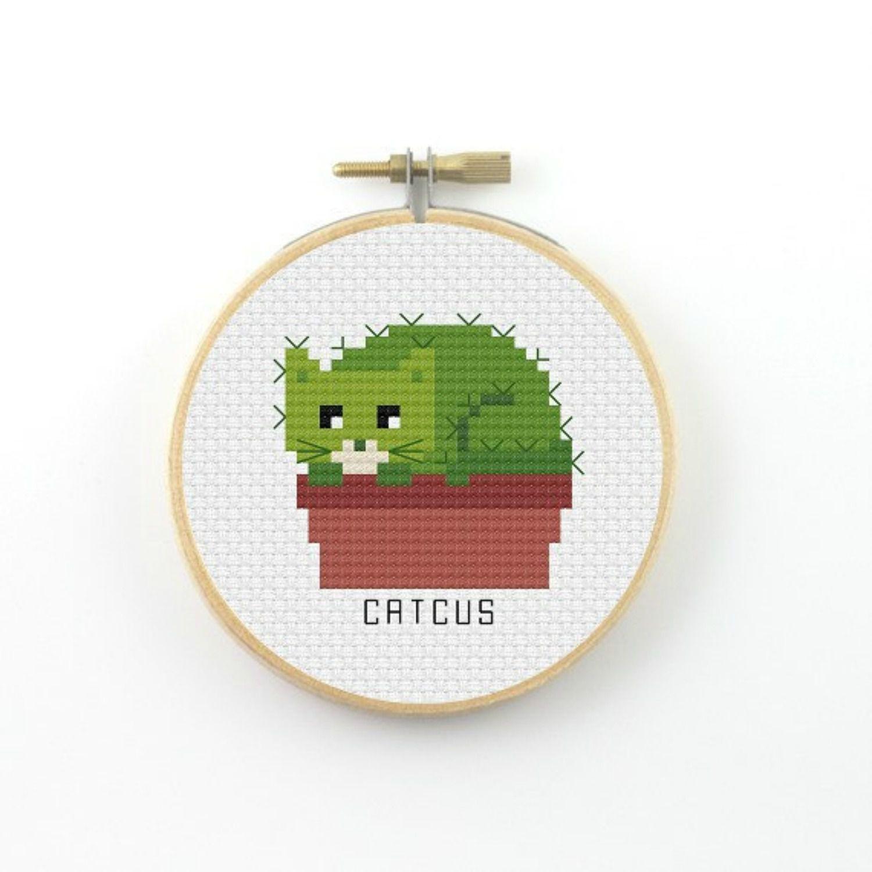A catcus cross-stitch