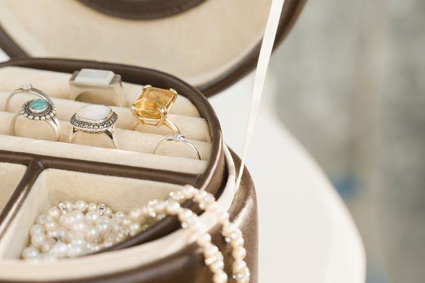 Jewelry in jewelry box, Close-up, cropped