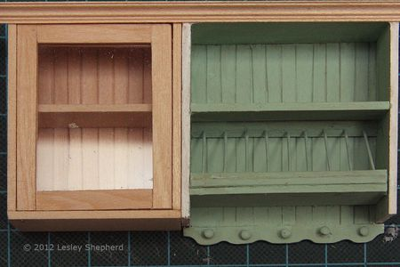 glass fronted upper cabinet with opening door for a dollhouse scale kitchen - Upper Kitchen Cabinets