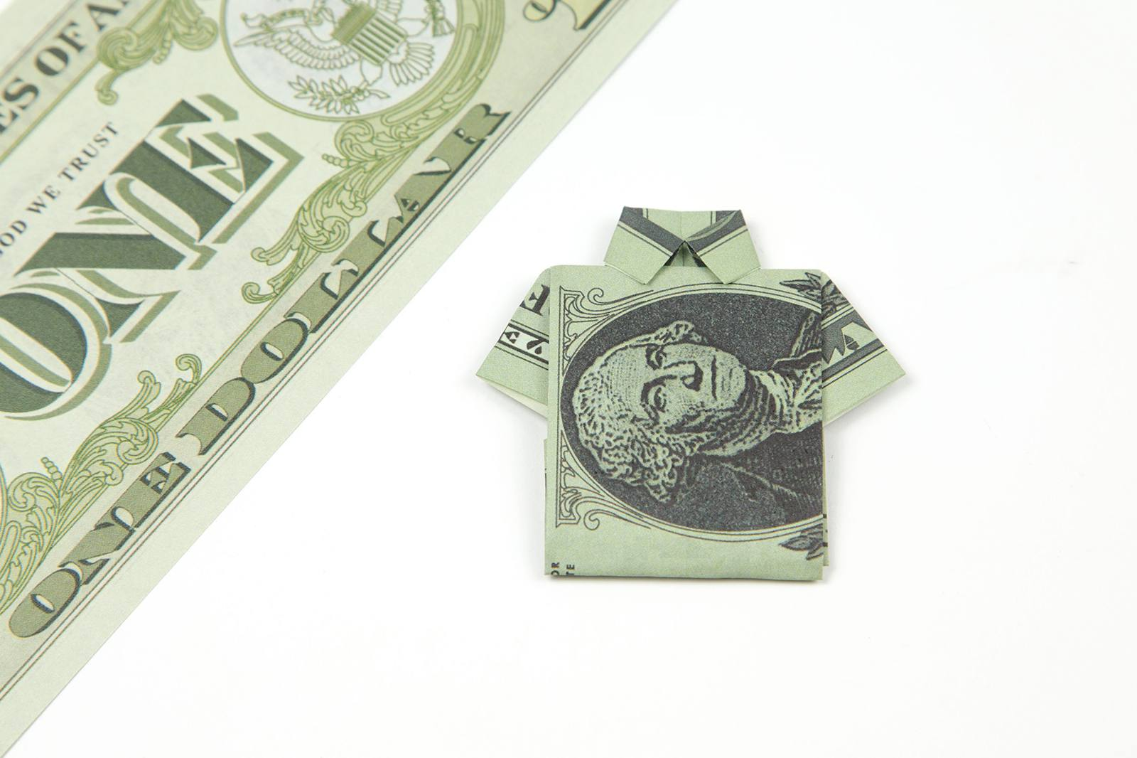Money Origami Shirt and Tie Folding Instructions | 1066x1600