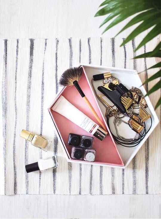 DIY Leather Hexagon Vanity Tray