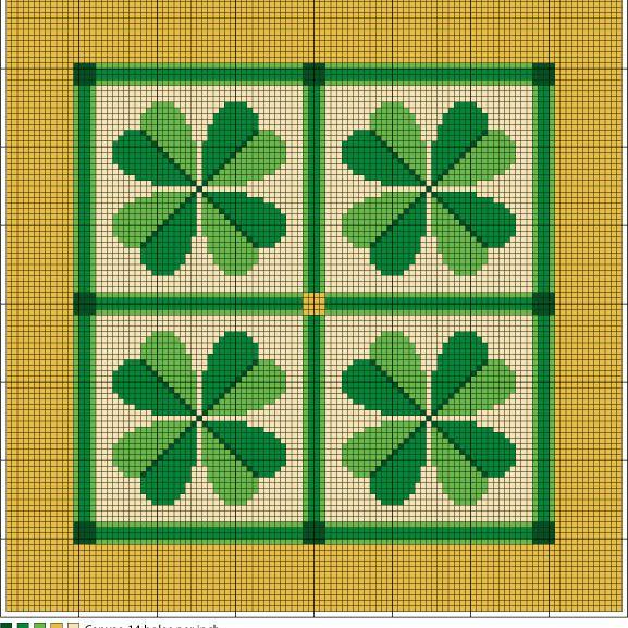 Shamrock Quartet Needlepoint Chart