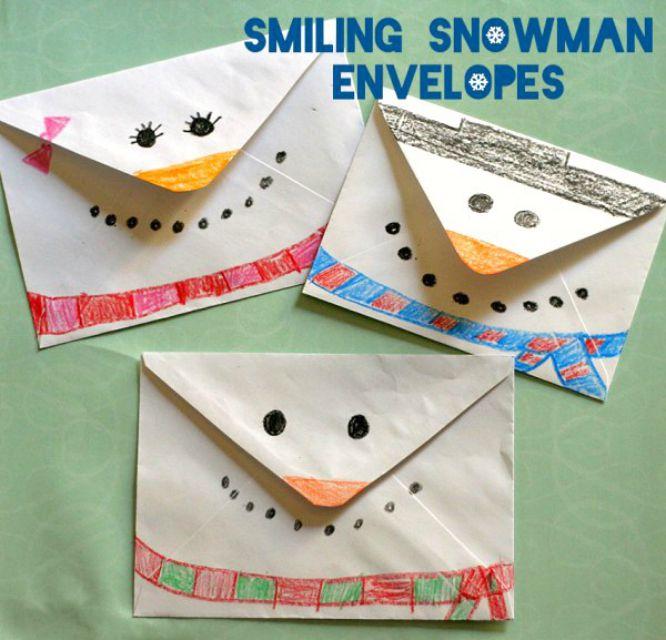 Smiling snowman envelopes