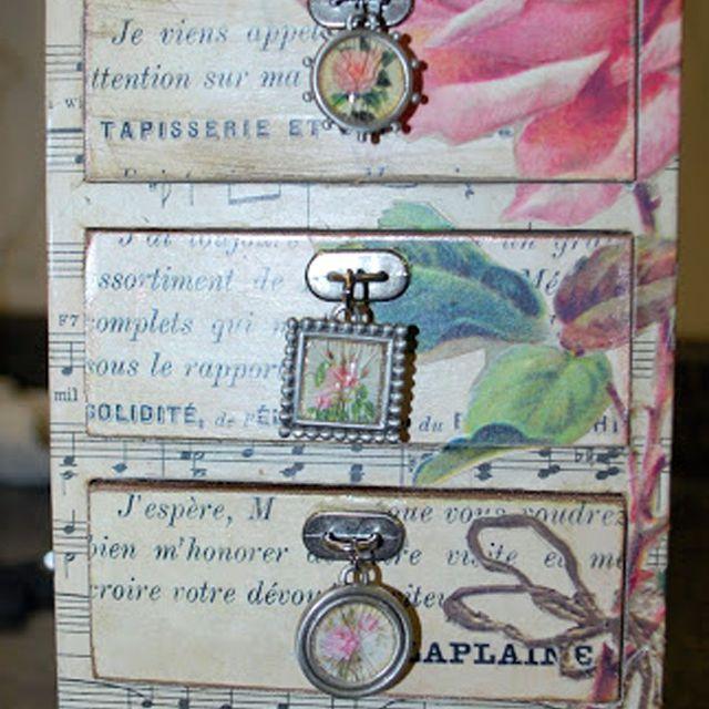 rose decoupage dresser