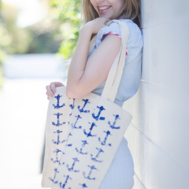 DIY Stamped Anchor Tote