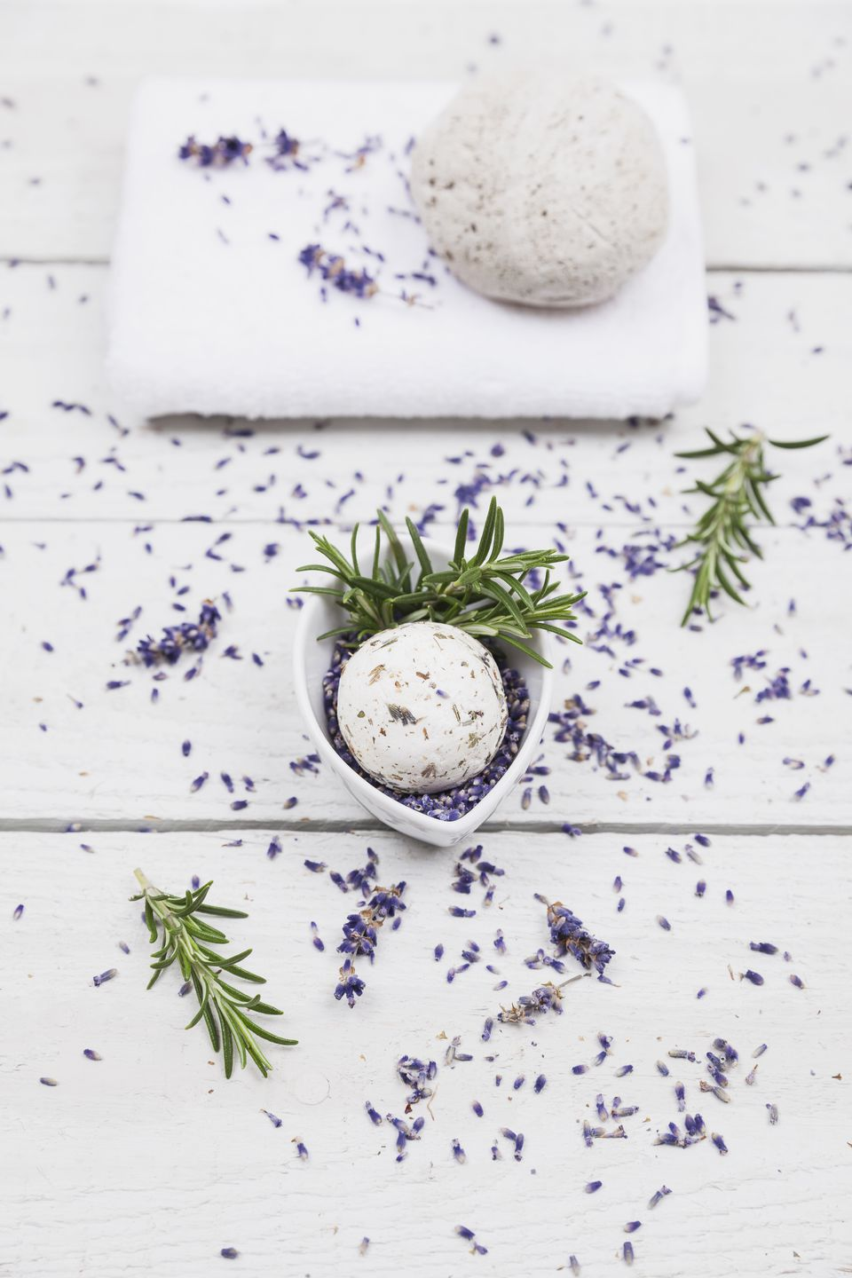 Lavender blossom and rosemary soap ball with natural pumice stone