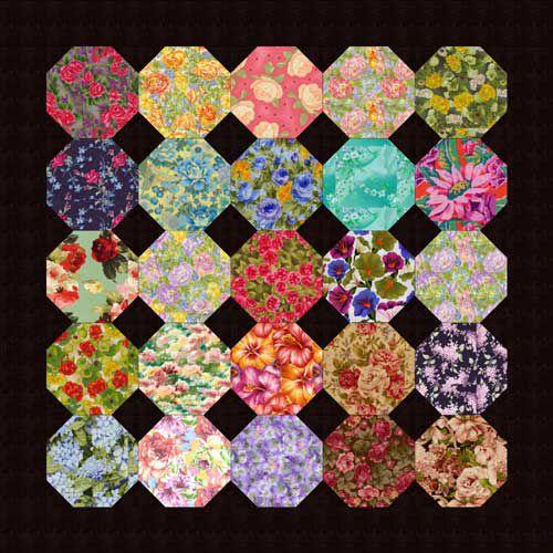 Floral Snowball Quilt Blocks