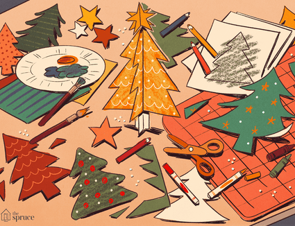 An illustration of Christmas tree cutouts on a crafting table