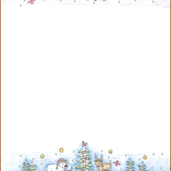 a winter christmas scene on christmas stationery