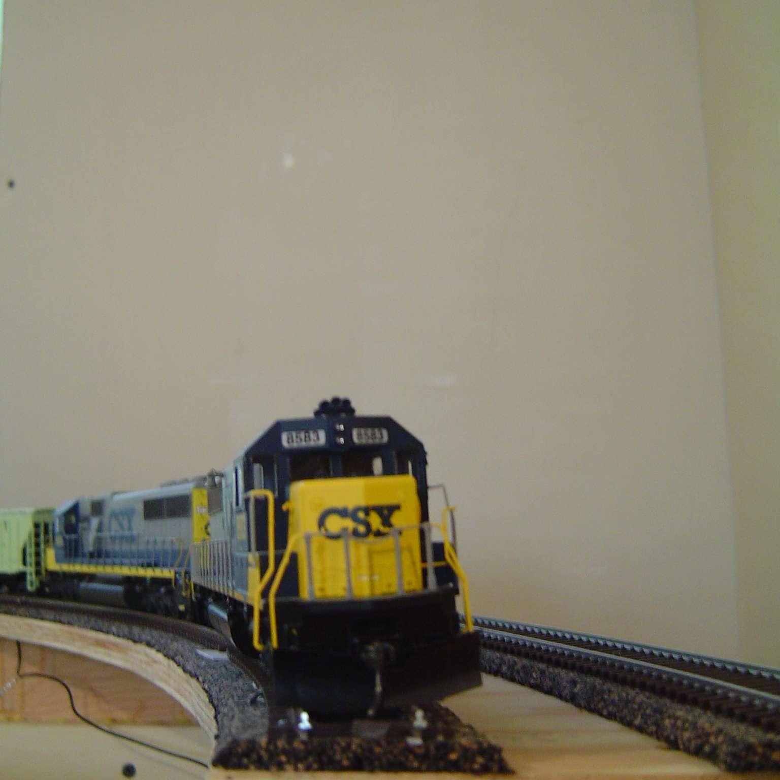 Model train on track