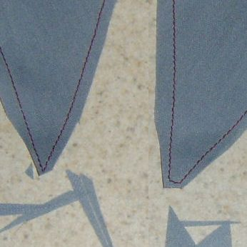 Fabric trimmed and sewn into corners