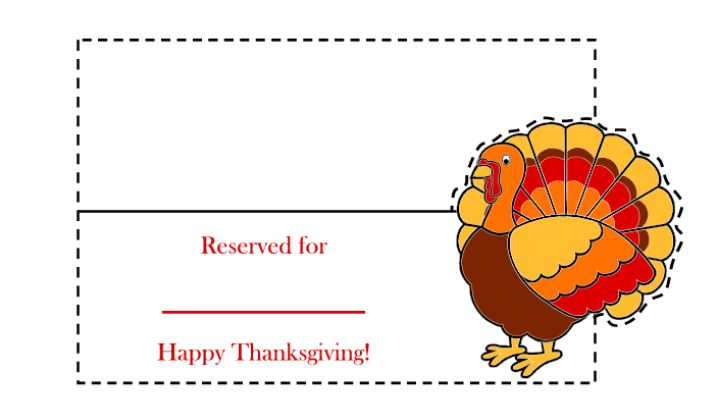 a thanksgiving place card with a colorful turkey on it - Thanksgiving Place Cards