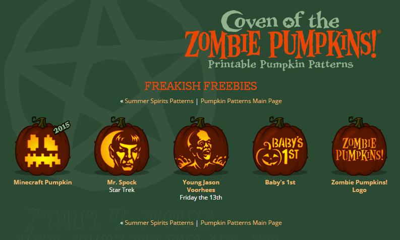 Pumpkin carving patterns at Zombie Pumpkins
