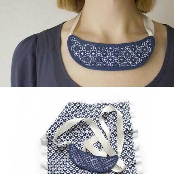 DIY Polymer Clay Sashiko Necklace