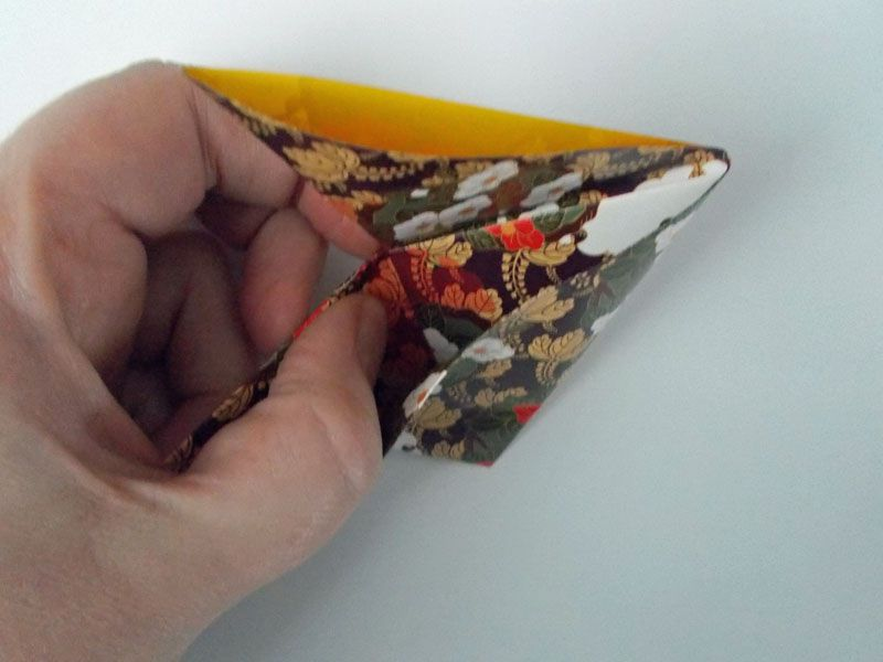 Origami bookmark flaps tucked in