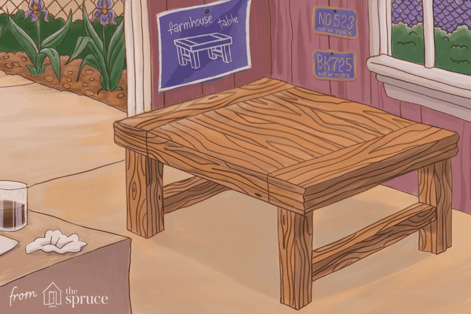 Illustration of a farmhouse table