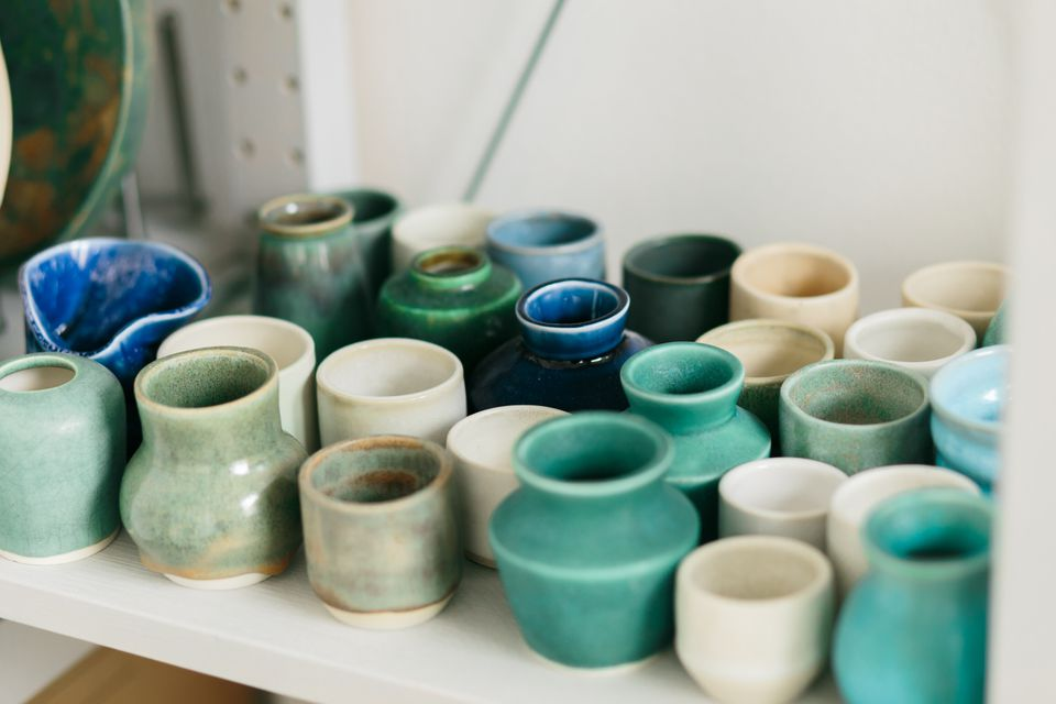 Ceramic mug made on a Potter's wheel in the workshop