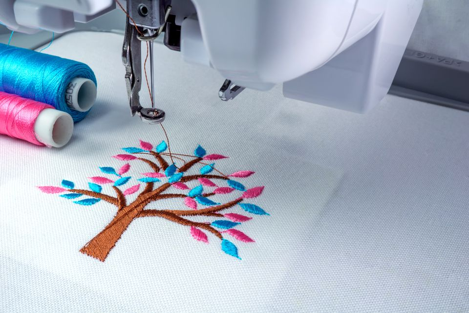Close up picture workspace of embroidery machine
