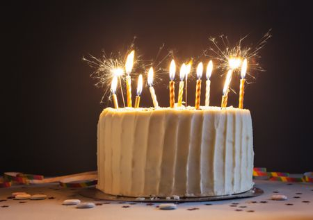 birthday cake with candles and sparklers - Free Birthday Templates