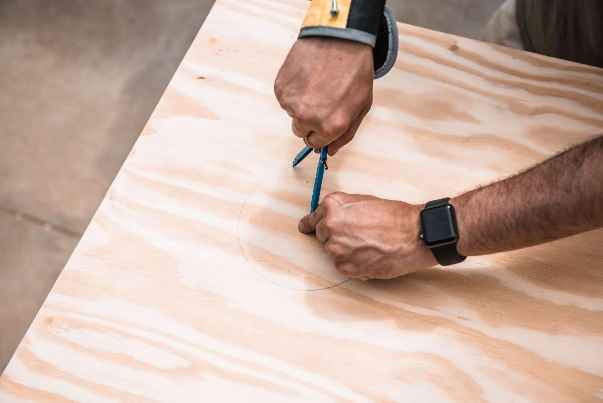 marking a piece of plywood