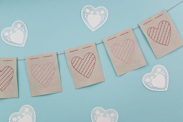 Embroidered Linen Heart Garland