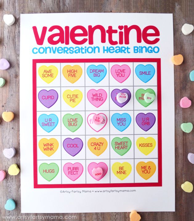 A colorful valentine bingo card with conversation hearts.