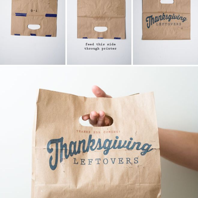 """A person holding a paper bag that says """"Thanksgiving Leftovers"""""""