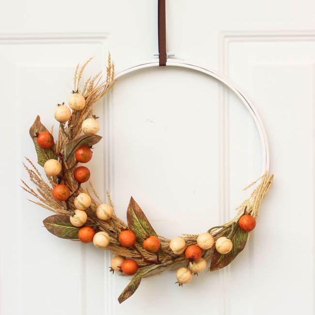 DIY Fall Modern Hoop Wreath