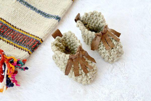 Beginner Knit Baby Moccasins