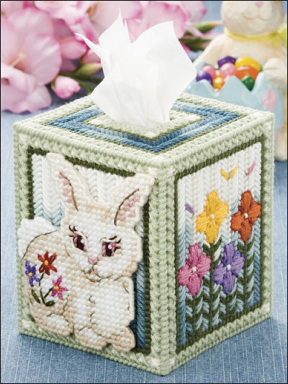 bunny needlepoint tissue box on plastic canvas