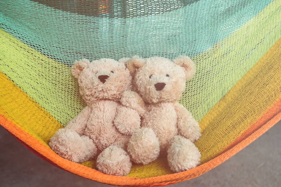 Teddy Bears On Colorful Hammock
